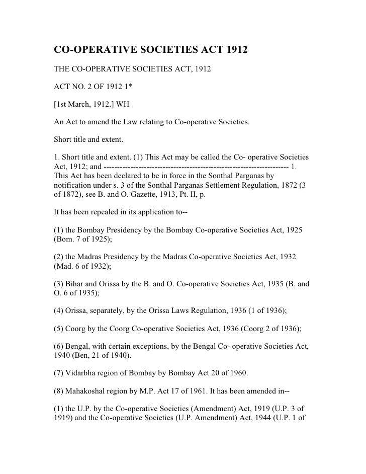 Society Act 1912