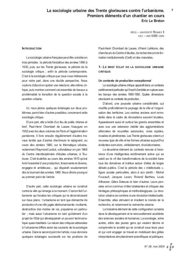 la sociologie urbaine des Trente glorieuses contre l'urbanisme.                                           7               ...
