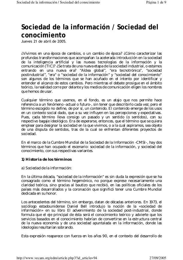 Sociedad de la información / Sociedad del conocimiento Página 1 de 9  Sociedad de la información / Sociedad del  conocimie...