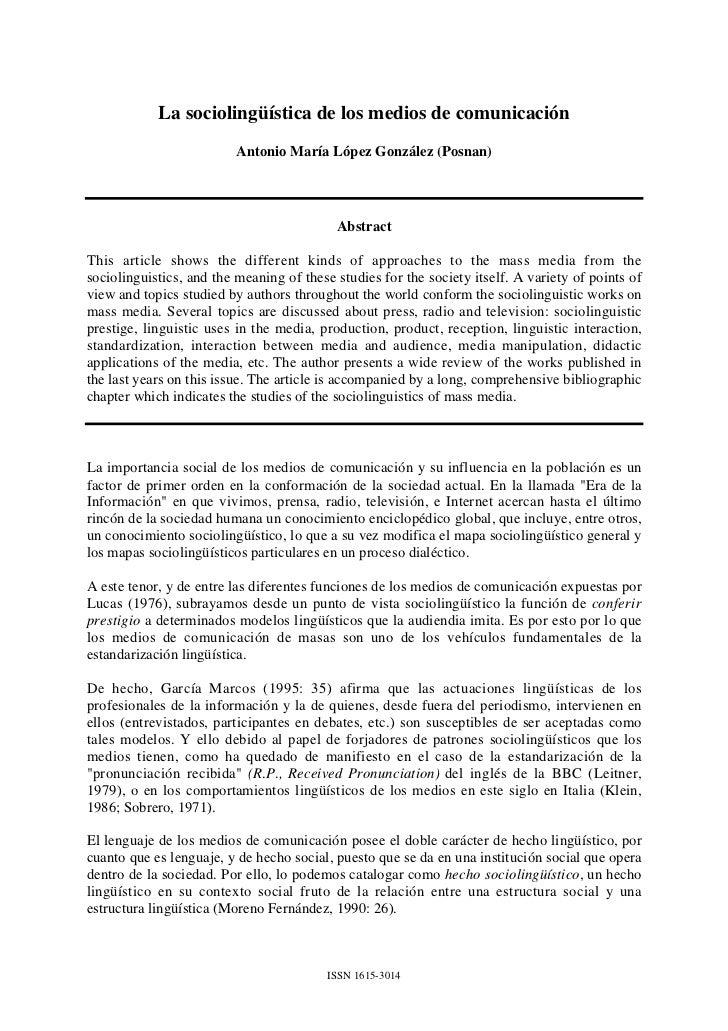La sociolingüística de los medios de comunicación                          Antonio María López González (Posnan)          ...