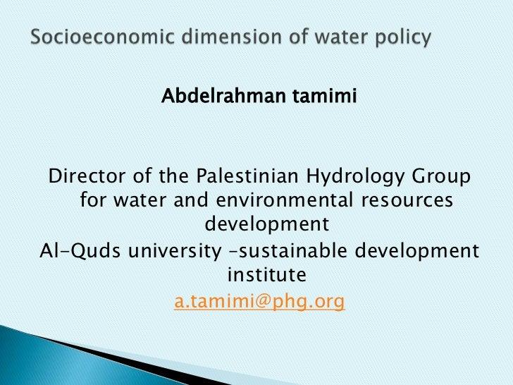 Socio economic dimension Abdelrahman Tamimi