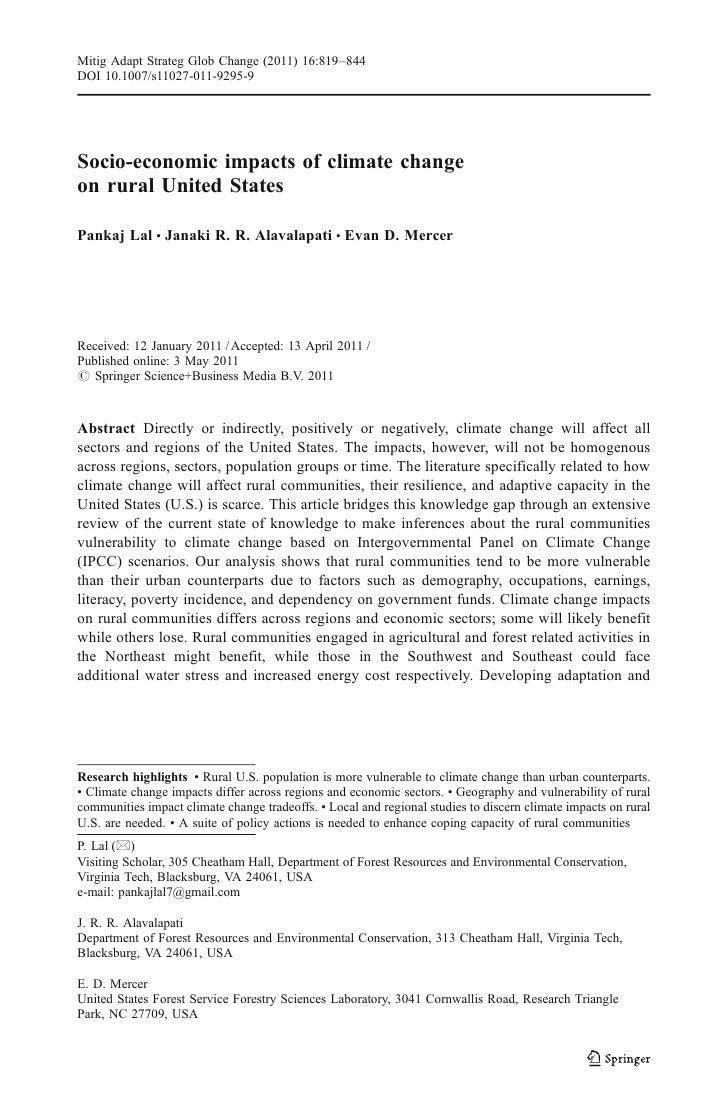 Mitig Adapt Strateg Glob Change (2011) 16:819–844DOI 10.1007/s11027-011-9295-9Socio-economic impacts of climate changeon r...
