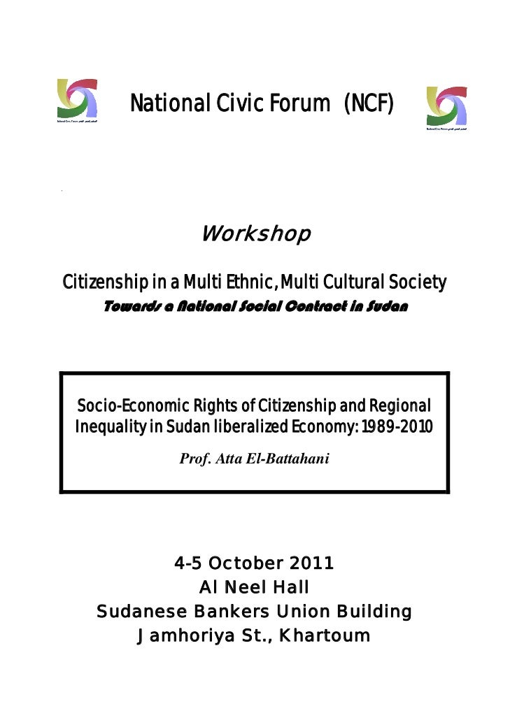 National Civic Forum (NCF)@                         Workshop                                 Citizenship in a Multi Eth...