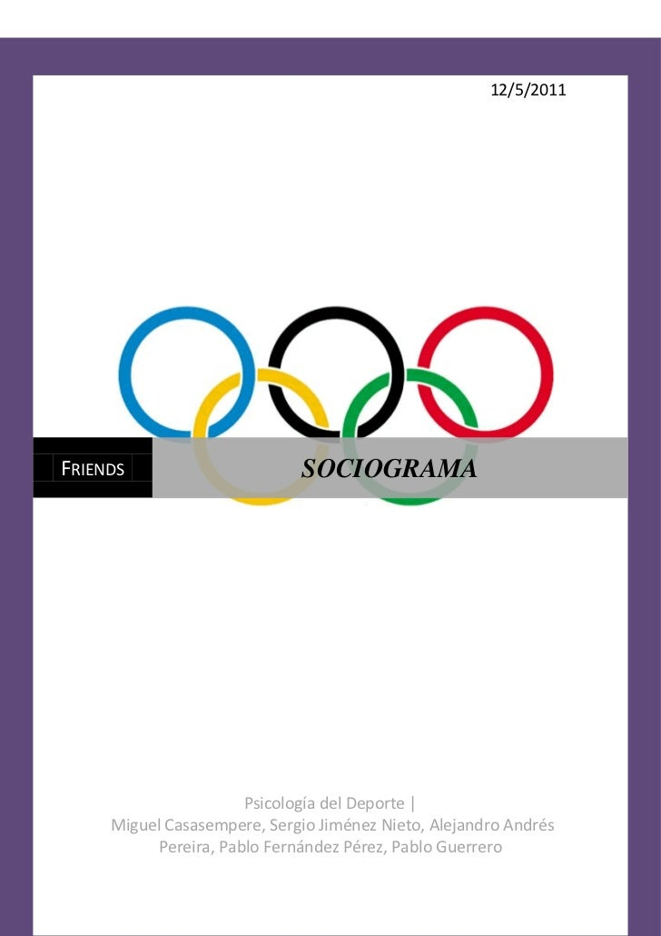 12/5/2011FRIENDS                      SOCIOGRAMA                      Psicología del Deporte |     Miguel Casasempere, Ser...