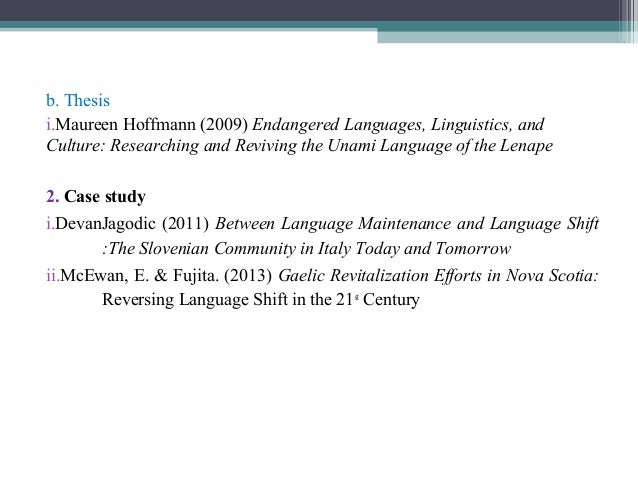 Thesis on culture and language