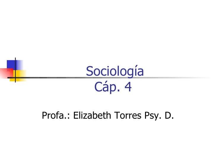 Sociología Cáp. 4  Profa.: Elizabeth Torres Psy. D.