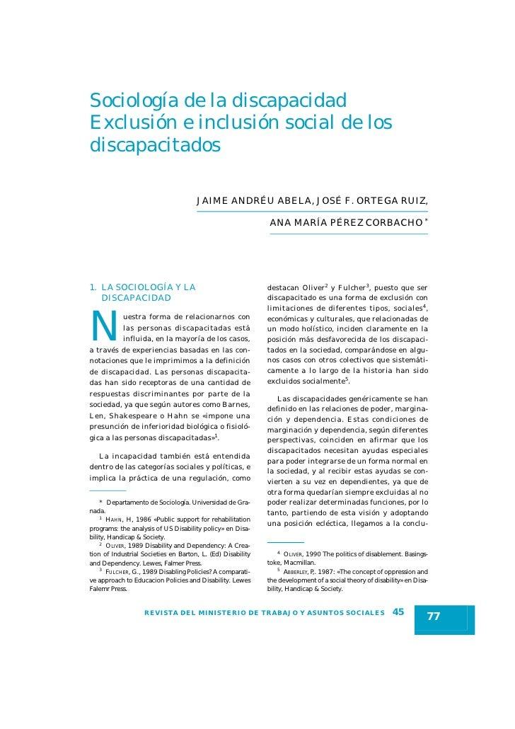 Sociología de la discapacidad