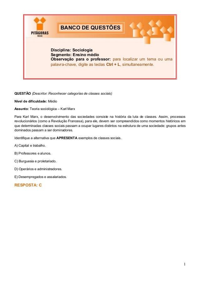 Questões de Sociologia - Ensino Médio - Discursiva - Objetiva