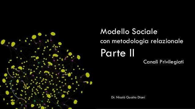 Modello Sociale con metodologia relazionale  Parte II Canali Privilegiati  Dr. Nicolò Guaita Diani