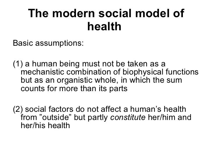 the sociology of health The world health organization (who) defines health as a state of complete physical, mental and social well-being, and does not consist only of the absence of disease or infirmity though this is a useful definition, some would consider it idealistic and non-realistic because using the who definition classifies 70-95% of people as unhealthy.