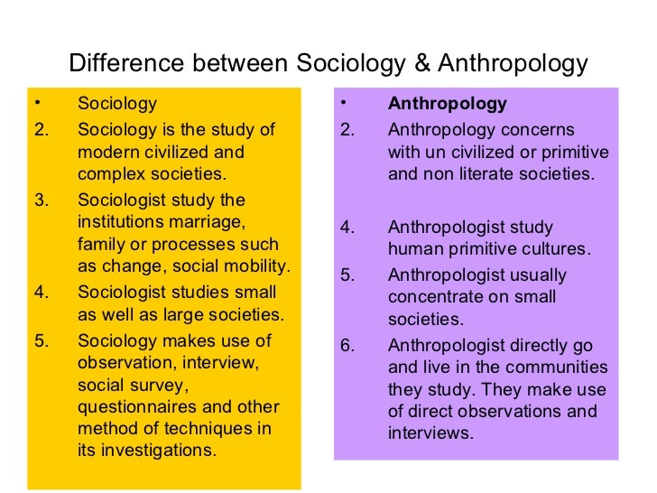 sociology vs anthropology Comparing & contrasting psychology and anthropology to  like anthropology, psychology and sociology which fall  of sociology ranges from the.