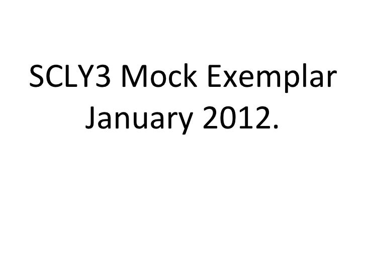 SCLY3 Mock Exemplar January 2012.