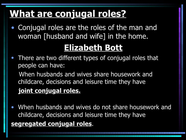 higher sociology conjugal roles This free sociology essay on changes in roles and relationship within the   these are a segregated type of family, as they have separated conjugal roles.