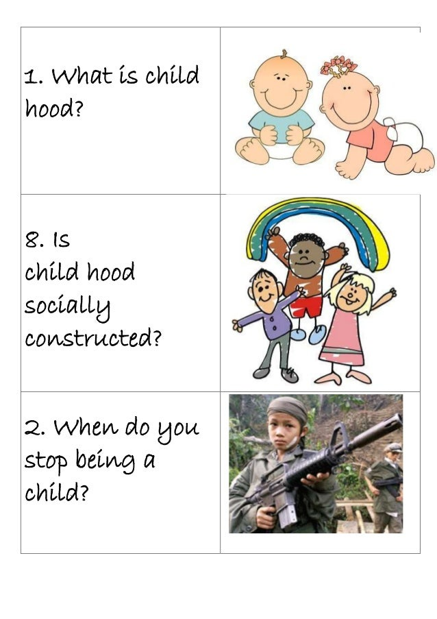 1. What is childhood?8. Ischild hoodsociallyconstructed?2. When do youstop being achild?
