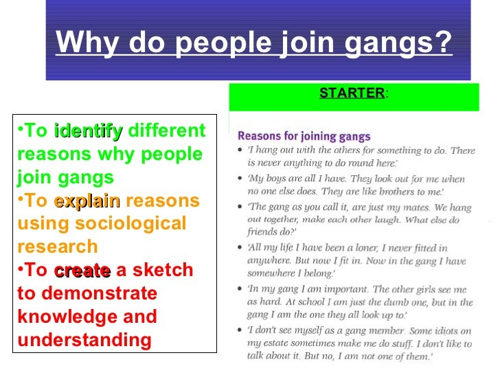 Essays about why people join gangs