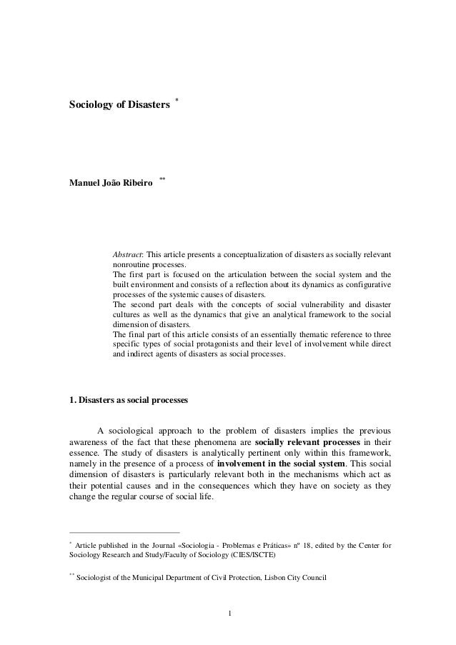*Sociology of Disasters                               **Manuel João Ribeiro                Abstract: This article presents...