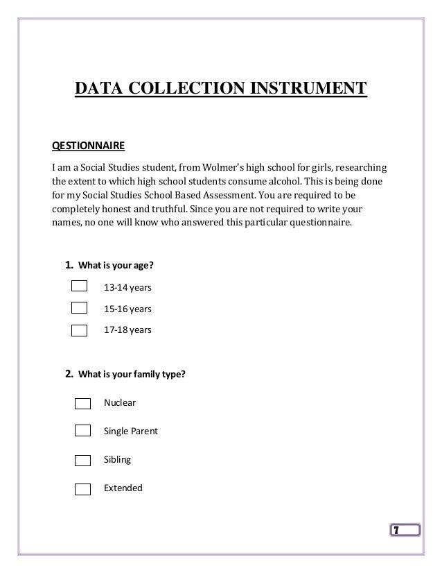 juvenile deliquency questionnaire sba Instrument used to collect data copy of the questionnaire survey of juvenile delinquency in my community dear residents this survey is  social studies sba.