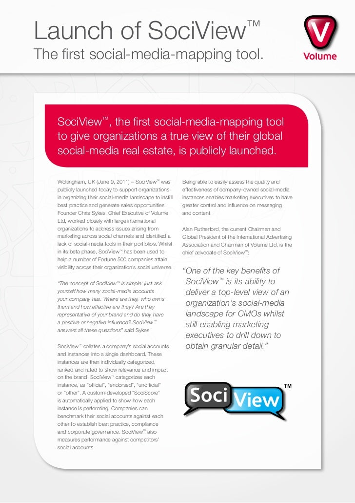Launch of SociView                                                                       ™The first social-media-mapping t...