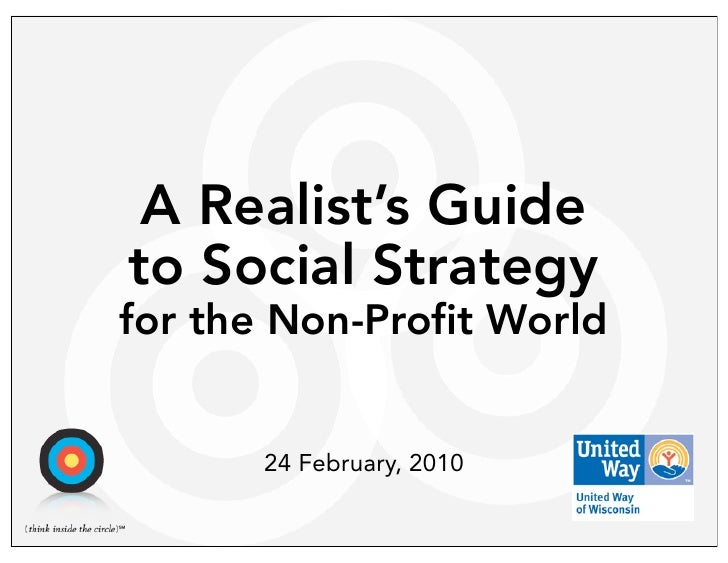 A Realist's Guide to Social Strategy for the Non-Profit World          24 February, 2010