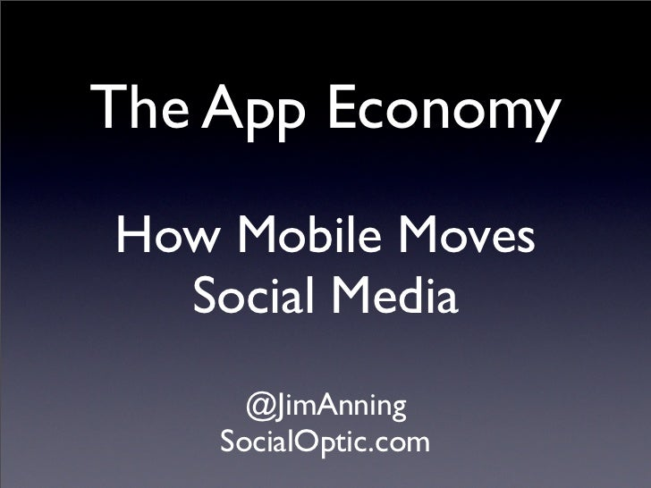 The App EconomyHow Mobile Moves  Social Media      @JimAnning    SocialOptic.com