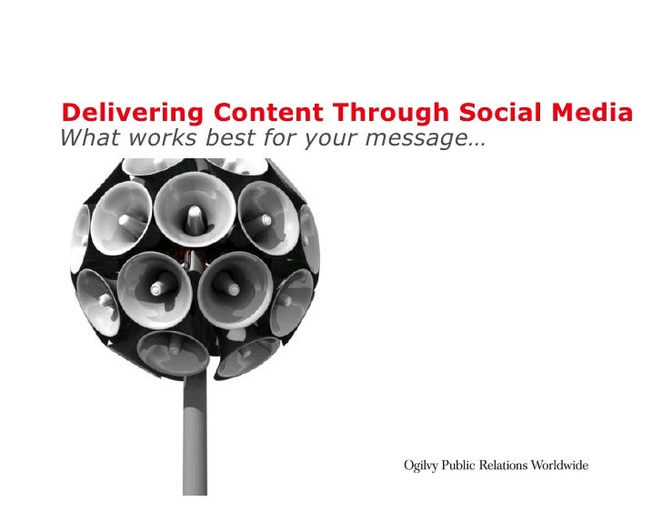 Delivering Content Through Social Media What works best for your message…