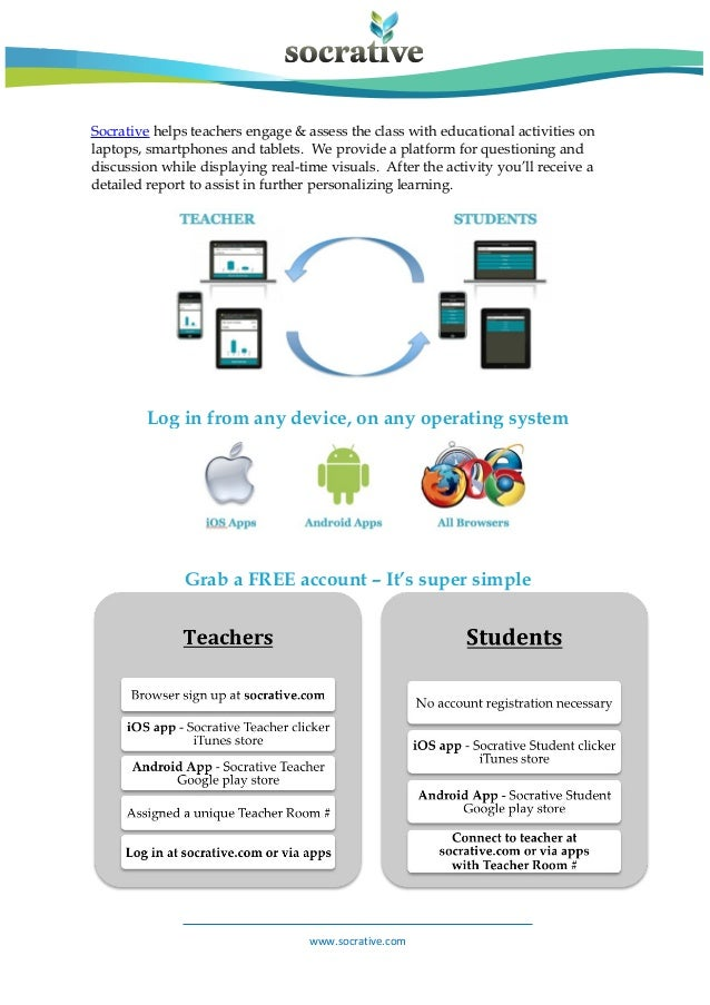 Socrative helps teachers engage & assess the class with educational activities on laptops, smartphones and tablets. We pro...