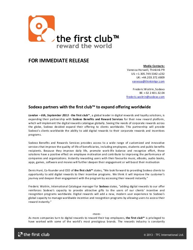FOR	   IMMEDIATE	   RELEASE	    Media	   Contacts:	    Vanessa	   Horwell,	   ThinkInk	   PR	    US:	   +1.305.749.5342	  ...