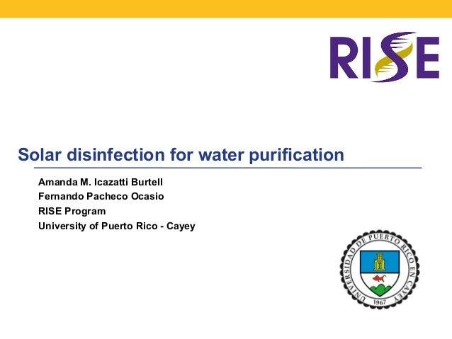 Solar disinfection for water purification Amanda M. Icazatti Burtell Fernando Pacheco Ocasio RISE Program University of Pu...