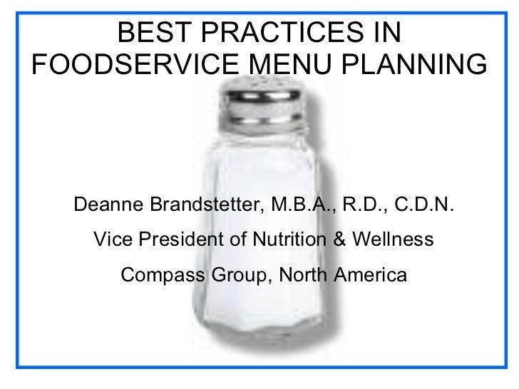 Best Practices in Foodservice Menu Planning