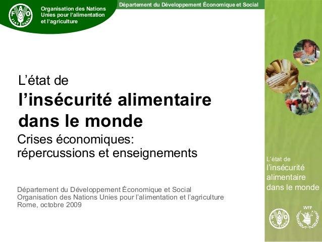 Département du Développement Économique et Social The State of Food Insecurity in the World L'état de l'insécurité aliment...