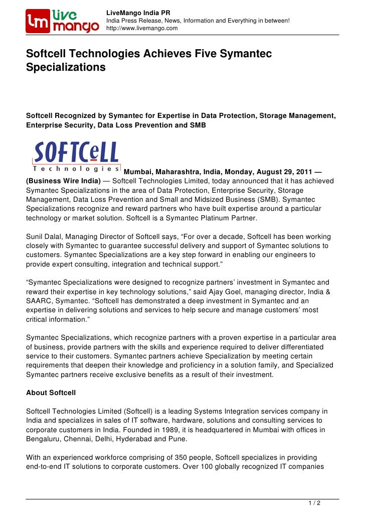 Softcell Technologies Achieves Five Symantec Specializations