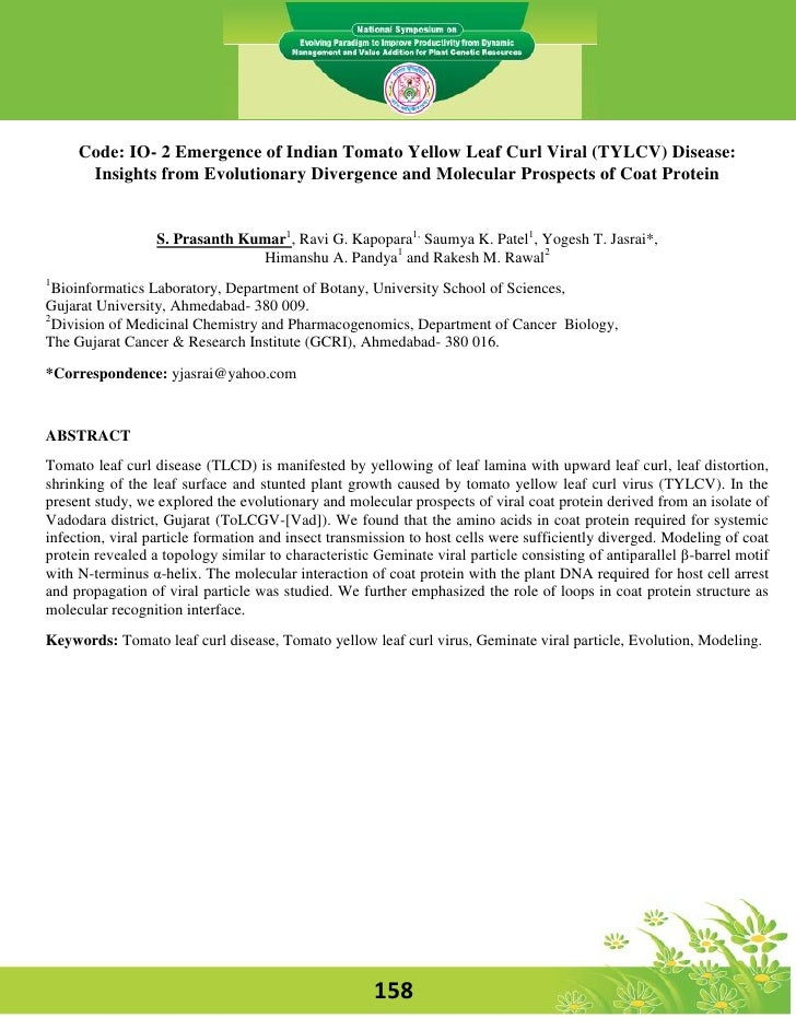 Code: IO- 2 Emergence of Indian Tomato Yellow Leaf Curl Viral (TYLCV) Disease:      Insights from Evolutionary Divergence ...