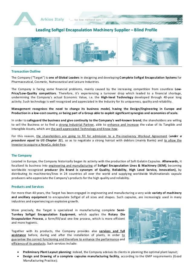 Softgel Encapsulation System Supplier - Blind Profile