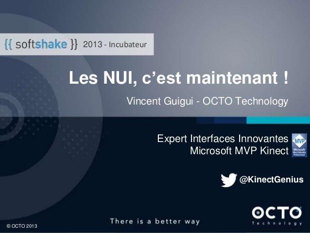 2013 - Incubateur  Les NUI, c'est maintenant ! Vincent Guigui - OCTO Technology  Expert Interfaces Innovantes Microsoft MV...