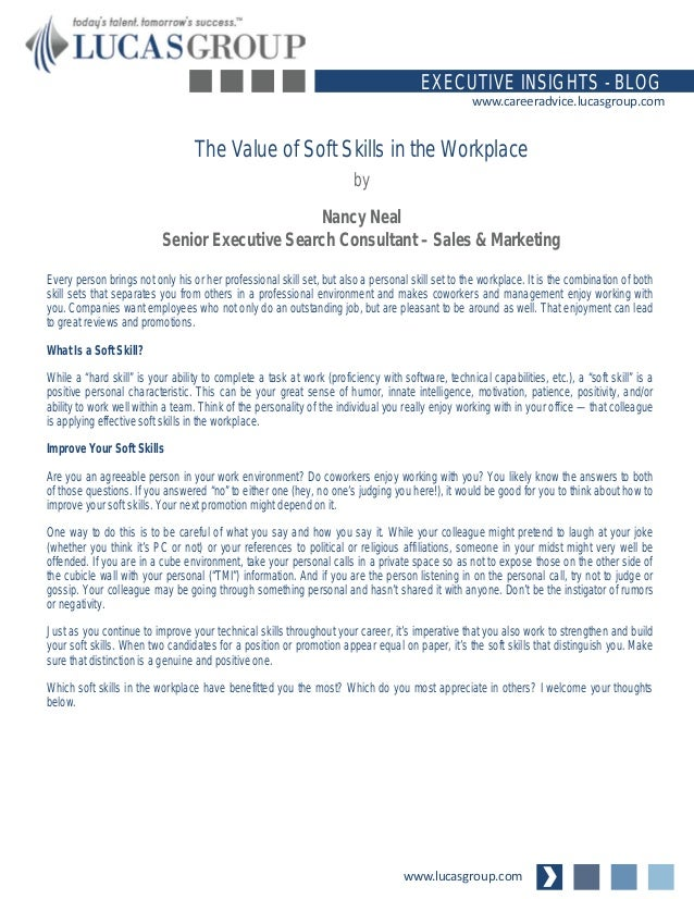 The Value of Soft Skills in the Workplace
