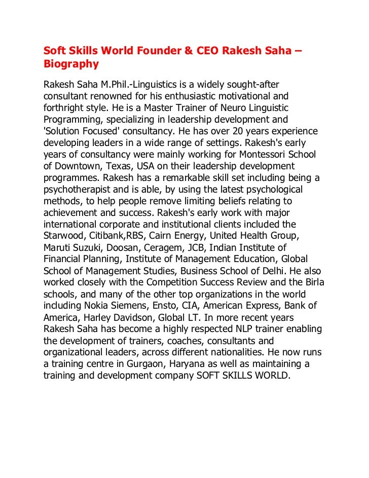 Soft Skills World Founder & CEO Rakesh Saha –BiographyRakesh Saha M.Phil.-Linguistics is a widely sought-afterconsultant r...