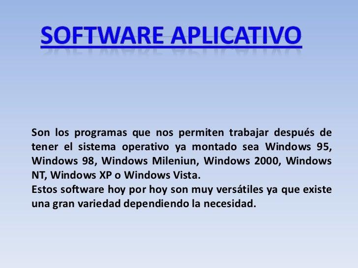 Son los programas que nos permiten trabajar después de tener el sistema operativo ya montado sea Windows 95, Windows 98, W...