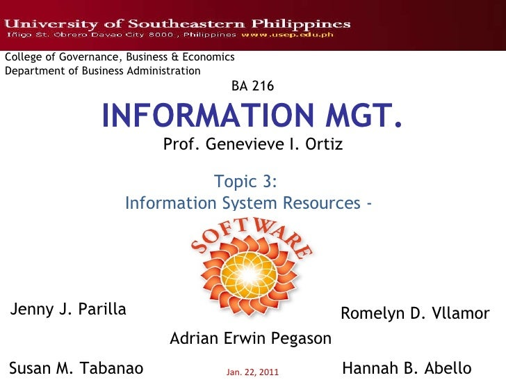 Jan. 22, 2011 College of Governance, Business & Economics Department of Business Administration BA 216 INFORMATION MGT. Pr...