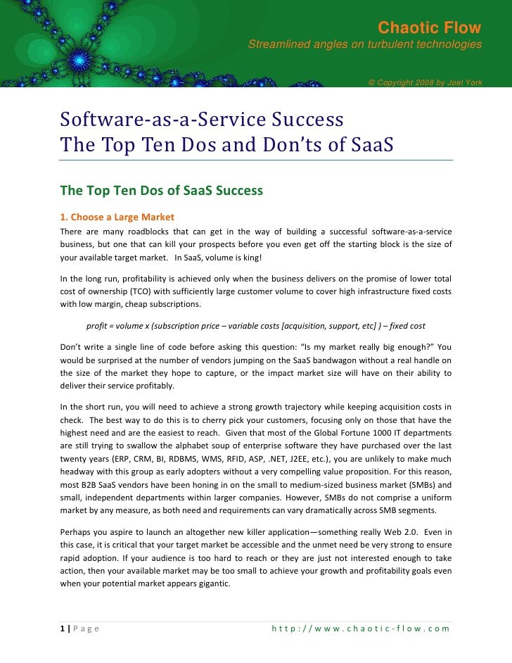 SaaS Top 10 Dos and Don'ts