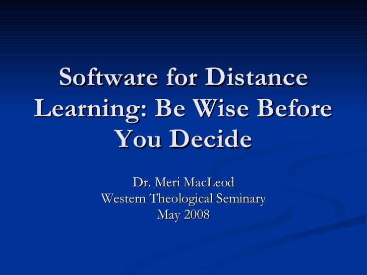Software For Distance Learning