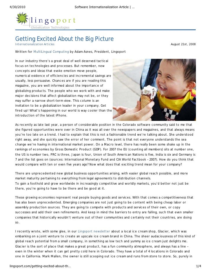 Software Internationalization and Localization Consulting Article: Getting Excited about the Big Picture