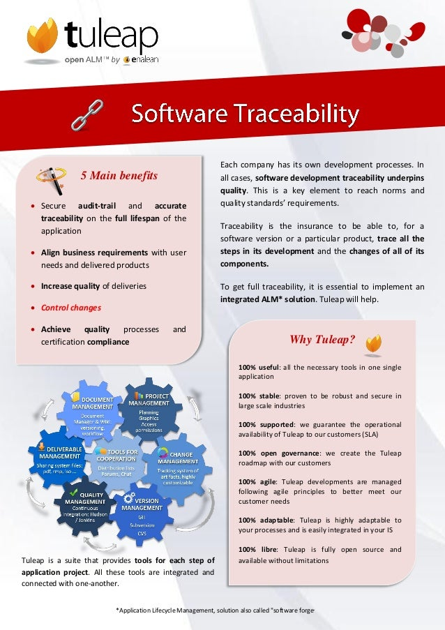 Tuleap is a suite that provides tools for each step of application project. All these tools are integrated and connected w...