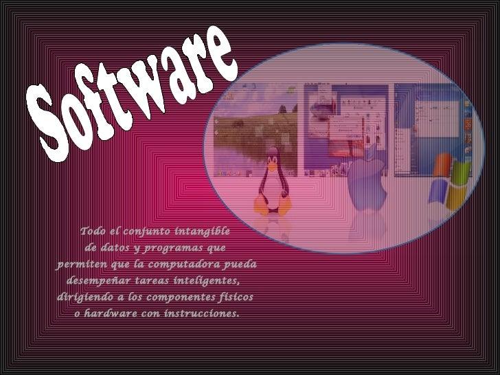 Software Todo el conjunto intangible de datos y programas que  permiten que la computadora pueda  desempeñar tareas inteli...