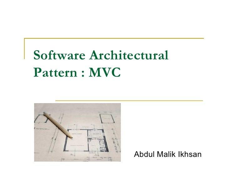 Software architectural pattern - MVC