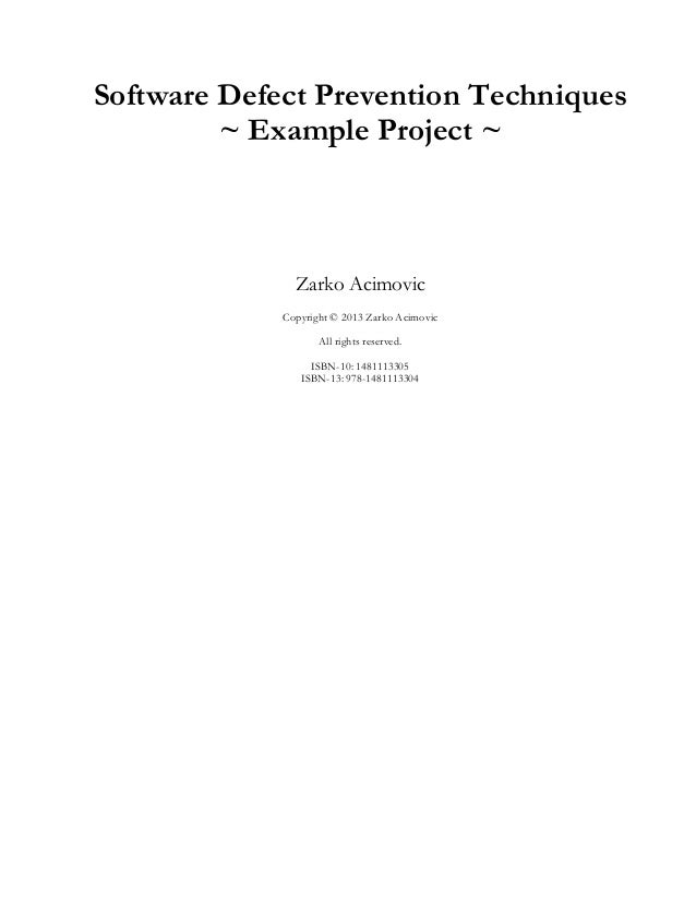 Software defect prevention example project