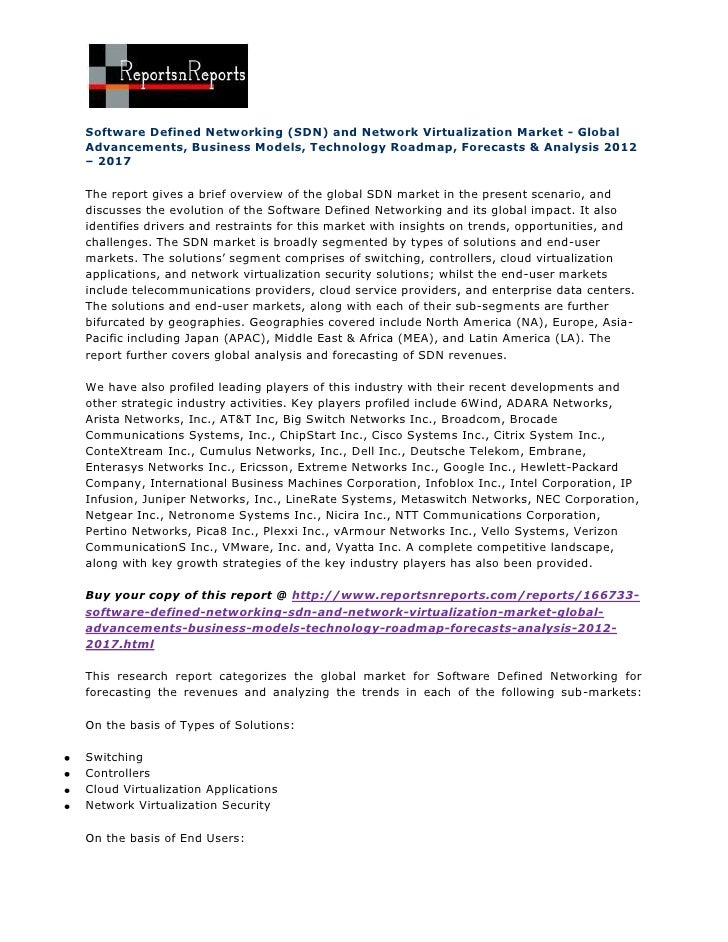 Software Defined Networking (SDN) and Network Virtualization Market - GlobalAdvancements, Business Models, Technology Road...