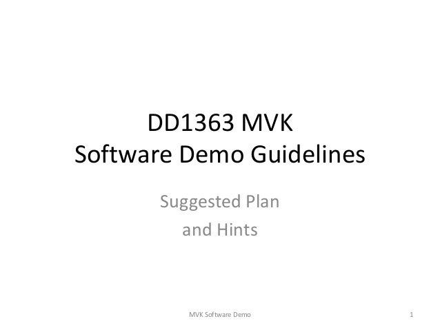 Software demoguidlines