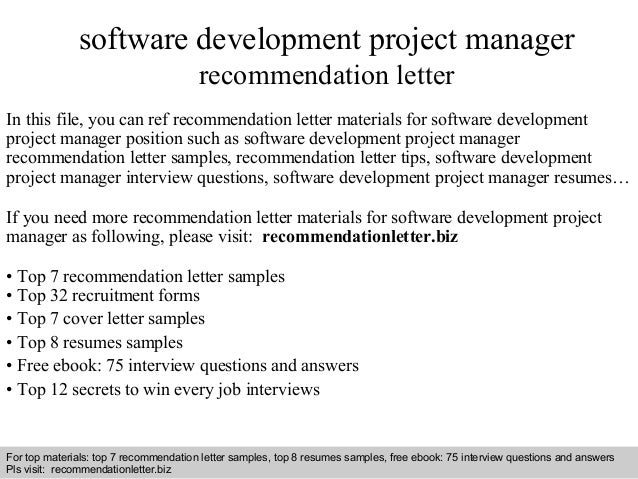 Software development project manager re mendation letter