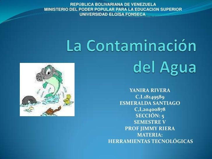 REPÚBLICA BOLIVARIANA DE VENEZUELAMINISTERIO DEL PODER POPULAR PARA LA EDUCACIÓN SUPERIOR               UNIVERSIDAD ELOÍSA...