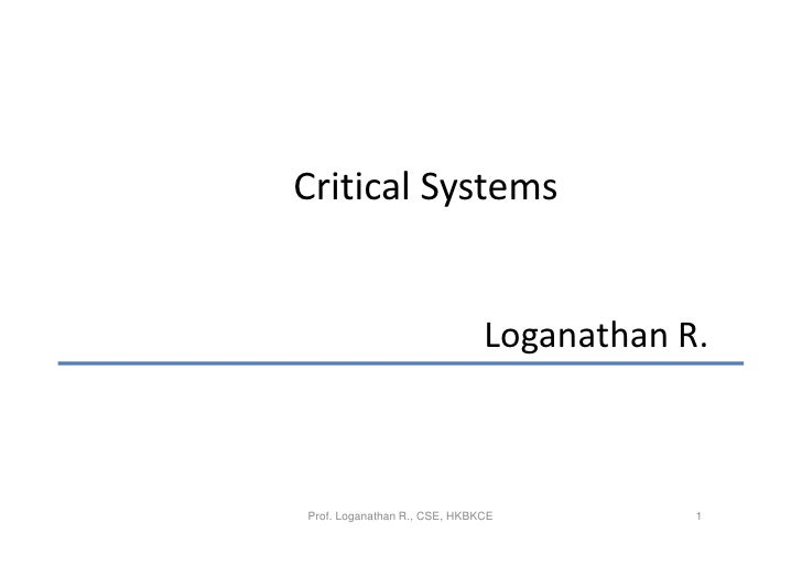 Software engineering   critical systems